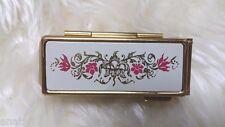 VINTAGE GOLD TONE Shisedo LIPSTICK HOLDER / Lipstick Case Floral Beauty