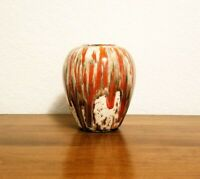 Vintage Mid-century Glazed Ceramic Pottery Art Bud Vase Red White Gray