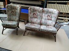 Vintage Retro Ercol Evergreen Two Piece Suite, Arm Chair & Two Seater Sofa