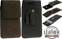 FLAP CASE HANDMADE OF GENUINE LEATHER POUCH WITH CLIP COVER FOR MOBILE PHONES