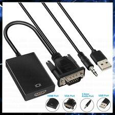 CAVO DA VGA MASCHIO A HDMI FEMMINA ADATTATORE CONVERTITORE AUDIO VIDEO USB PC TV