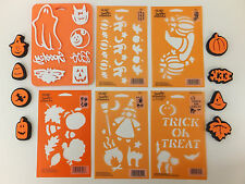 Halloween Stencil and Stamp Set Lot of 14 Fall Leaves Ghost Pumpkin Witch Cat