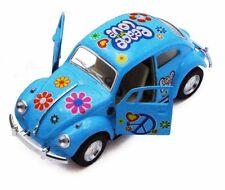 "Kinsmart 5"" 1967 VW Classic Beetle Peace Decals Diecast 1:32 Volkswagen Blue"