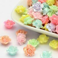 40 x ACRYLIC FLOWER BEADS AB PEARL LUSTRE 13mm TOP QUALITY