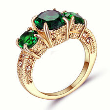 Size 6 Vintage Green Emerald Crystal Wedding Ring Gold Rhodium Plated Jewelry
