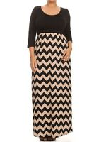 Plus Maxi Dress Chevron Long Full Length Casual 3/4 Sleeve Women 1X 2X 3X Solid
