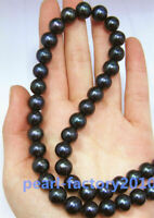 "18"" 9-8 MM AAAA SOUTH SEA NATURAL black PEARL NECKLACE 14K GOLD CLASP"