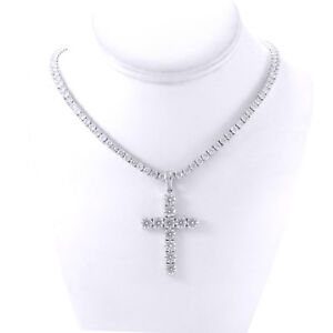 Mens Silver Finish Bling Lab Diamond Cross 4mm Tennis Chain 1 Row Necklace