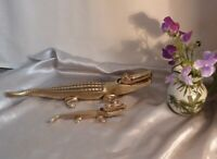 Two Stunning Antique Nut Crackers-Crocodiles-Solid Brass-One Very Large & Heavy