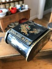 Vintage Oriental Design Lacquered Box / Tin – Made in Great Britain