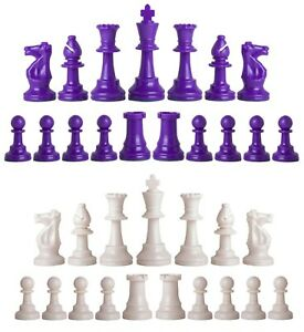 Staunton Triple Weighted Chess Pieces – Full Set 34 Purple & White - 4 Queens
