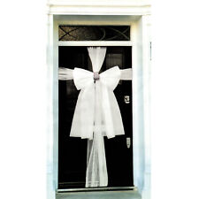 Christmas DIY Organza Door Bow with Diamante Middle - White