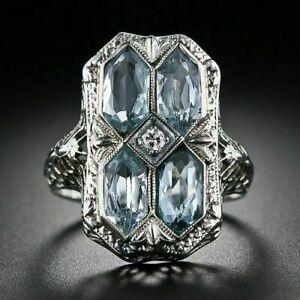 Beautiful Edwardian Vintage Fancy Shape Aquamarine With Old Mine Stone Ring