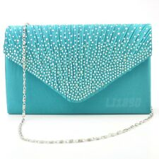 Womens Satin diamante Clutch Bag Evening Bridal Bag Wedding Fashion Prom Handbag