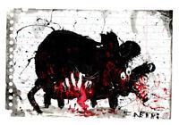 """Original JUSTIN AERNI circa 2021 PAINTING dark art macabre : """"DEAD RAT 2"""""""