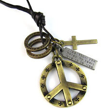 Mens Womens Heavy Metal Peace Sign Cross Pendant Genuine Leather Choker Necklace