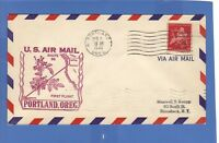 U S AIR MAIL FIRST FLIGHT COVER PORTLAND OR - HONOLULU 1948 NYC 50TH ANNIV STAMP