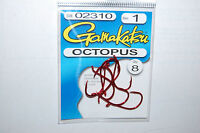 gamakatsu octopus hook size 1//0 red 6 per pack # 02311 trout salmon