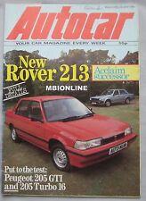 Autocar magazine 23 June 1984 featuring Pugeot 205 GTi & T16, Rover