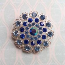 Heart Round Brooch in Gift Box New Silver Tone Blue Crystal Filigree