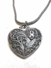 "925 SILVER 18"" SNAKE CHAIN NECKLACE W/ HOLLOW 3D PUFFED FILIGREE HEART PENDANT"