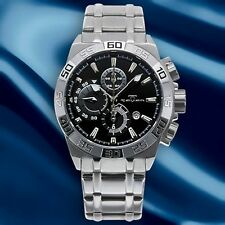 NEW Tavan 1159M Mens Dromon Stainless Steel w/ Black Dial Watch chronograph 46mm