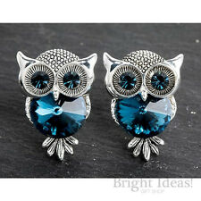 Equilibrium 274704 - MIDNIGHT OWL SILVER PLATED EARRINGS -  Blue Crystal Studs