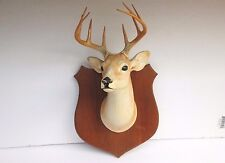Vintage 1945 Orn-a-Craft Deer Head Mount/figurine Plaque -Chalkware 10-Point