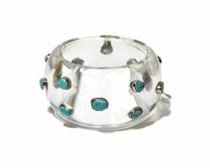 """BAJALIA """"Prem"""" Turquoise Studded Clear Resin Bangle Bracelet Sz - Large ASIS"""