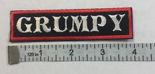 "Custom  Biker Vest Patch ""GRUMPY""  4""X 1""  WHITE with RED BOARDER"
