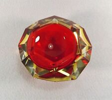 Flavio Poli Yellow & Red Faceted Sommerso Murano Glass Ashtray, Italy 1950s