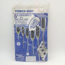 Vintage Set of 6 Power-Grip Screwdrivers Vinyl Handle Magnetized - In Package