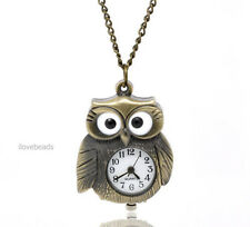ON SLAE Bronze Tone Steampunk Necklace Chain Owl Quartz Pocket Watch Gift 86cm