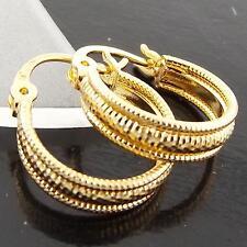 FS965 GENUINE REAL 18K YELLOW G/F GOLD SOLID DIAMOND CUT HOOP DROP EARRINGS