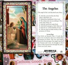 Our Lady with Archangel Gabriel - The Angelus - gold trim - Paperstock Holy Card
