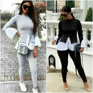 Ladies Layered Puff Sleeve Top Frill Hem Blouse Jumper Two Piece Lounge Set Suit