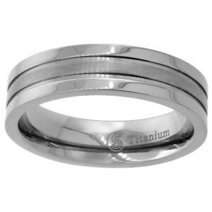 6mm Titanium Wedding Band Ring with Matte Stripe Center Flat Comfort Fit