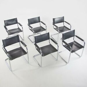 Set of 6 1970's Mart Stam S34 for Fasem Black Leather Chrome Dining Chairs Knoll