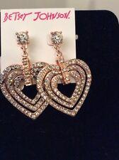 Betsey Johnson Rose Gold Tone Crystal Heart Drop EarringsDesign BJF1