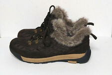 Lands End Powder Belle Boots Low Hiking Brown Quilted Fur Trim Womens 10 B Shoes