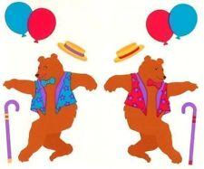 ~ Retired NLA Vintage Dancing Bear Cane Hat Balloons Mrs Grossman Stickers ~