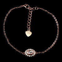 Unheated Oval Pink Morganite 6x4mm Cubic Zirconia 925 Sterling Silver Bracelet
