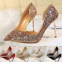 Women Pumps Sandals Glitter  Pointed Toe Stilettos High Heel Party Ladies Shoes