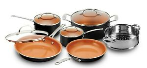 Gotham Steel 10-Piece Copper Nonstick Cookware Set, Black  NEW + FREE SHIPPING !