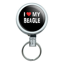 Metal Retractable Reel Id Badge Key Card Holder with Belt Clip I Love My Dog A-B