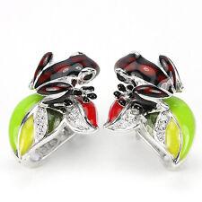 Sterling Silver 925 Enamel Red / Black Frog and Petal Design Earrings #2
