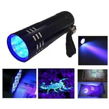 9 LED FLASHLIGHT BLACK LIGHT Torch Light Lamp Mini Aluminum UV ULTRA VIOLET AA