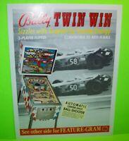 Twin Win Pinball FLYER Original NOS Bally 1974 Promo Artwork Sheet Auto Racing