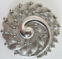 Vintage Monet Silver Tone Floral Pin Brooch