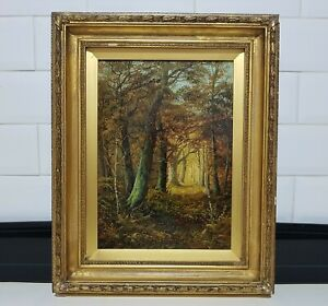 #2 Old Antique 19th Century Victorian Woodland Landscape Oil Painting Signed